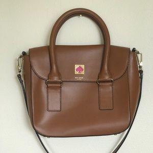 Kate Spade Brown Leather Satchel w/ Fun Pink Strap